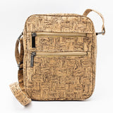 Men Bag Cork Handbag Vegan Leather Messenger Bag Cork Fabric Crossbody Shoulder Bag