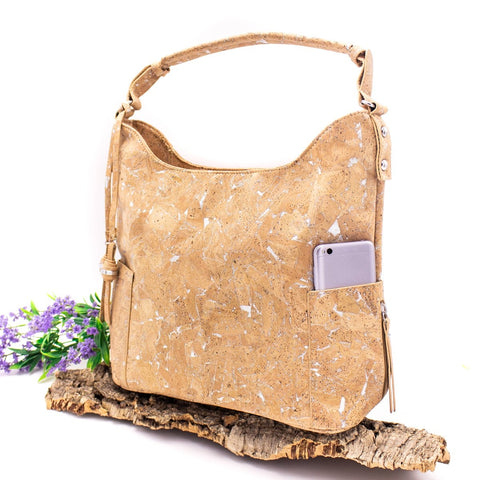 Cork Bag Cork Handbag Vegan Leather Purse Cork Fabric Shoulder Women Bag