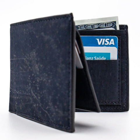 Cork Wallet Mens Slim Wallet Vegan Leather Rustic Cork Fabric Vegan Minimalist Wallet in Blue
