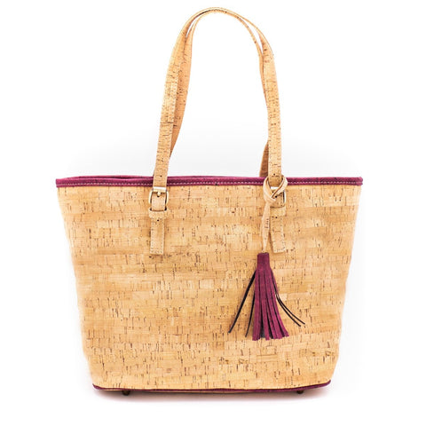 Tote Bag Cork Handbag Vegan Bag Handmade Purse Cork Fabric Shoulder Clutch Women Satchel
