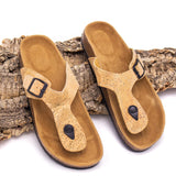 Ankle Sandals Made in Cork Vegan Shoes Natural Cork and Leather Women Sandals
