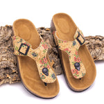 Ankle Sandals Made in Cork Vegan Shoes Natural Cork and Leather Women Sandals with Flowers Pattern