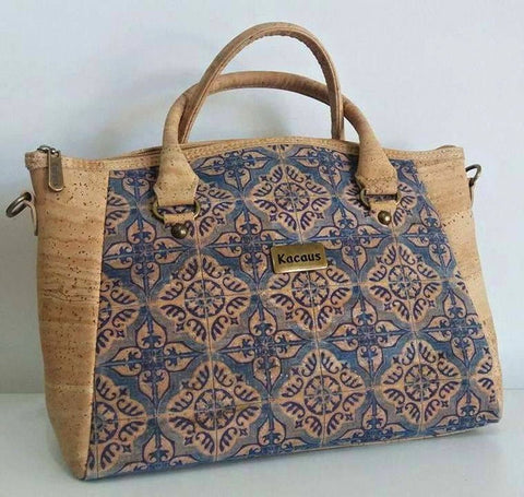 Handbag made with Natural Cork and Mosaic Blue Design - Fine Cork Bag - Cork Purse Eco-friendly Shoulder Bag