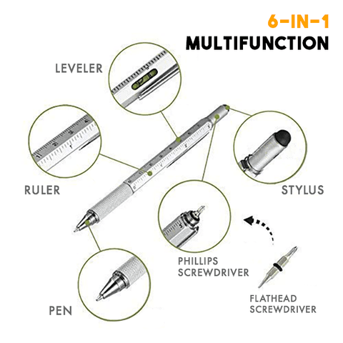 Image of 6-IN-1 Multifunction Ballpoint Pen - MEKONGOOD.COM
