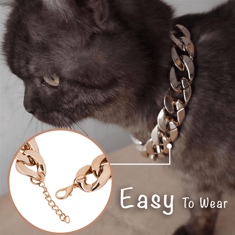 Image of Glittering Boss-Look Cuban Link Pets Collar - MEKONGOOD.COM