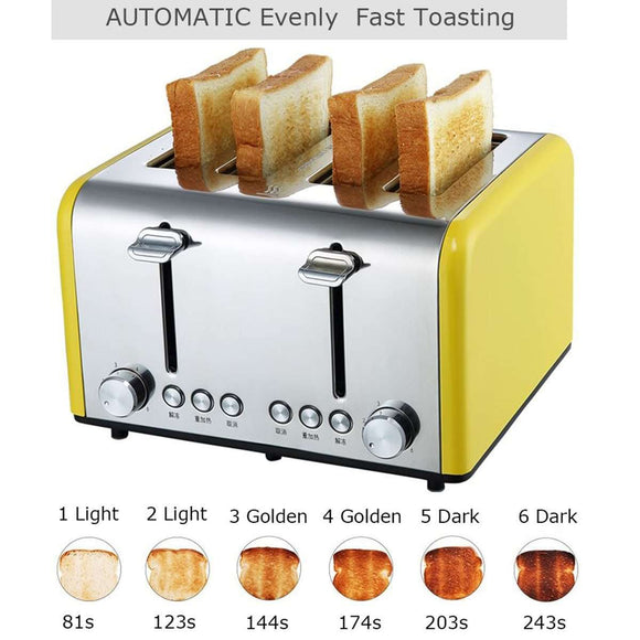 4 Slice Wide Slots Stainless Steel Electric Toaster Bread Maker - MEKONGOOD.COM