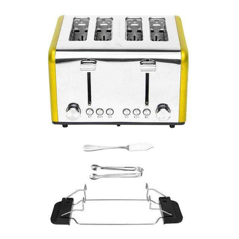 Image of 4 Slice Wide Slots Stainless Steel Electric Toaster Bread Maker - MEKONGOOD.COM