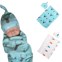 Load image into Gallery viewer, 2pcs/set Baby Blankets with Hat Newborn Baby Soft Warm Deer Printed Blue Swaddle Wrap Sleeping Blanket Infant Bathing Towel
