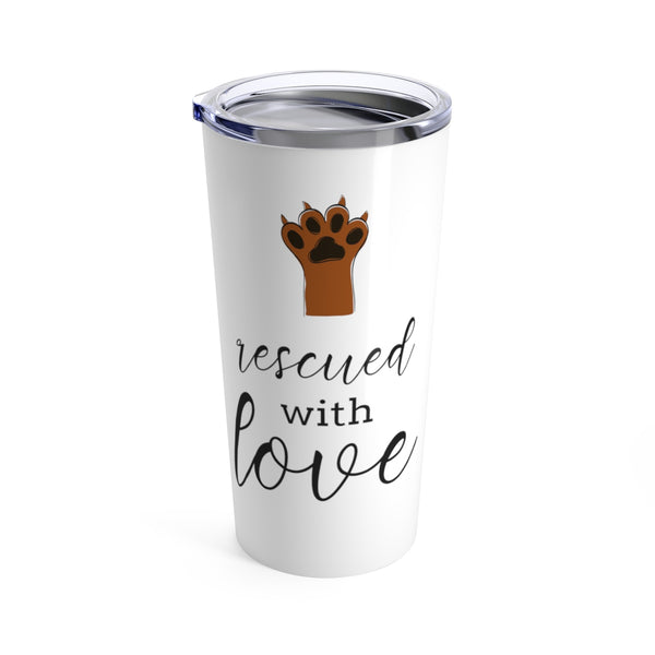 "tumbler ""rescued with love"" with paw print, gifts for dog moms"