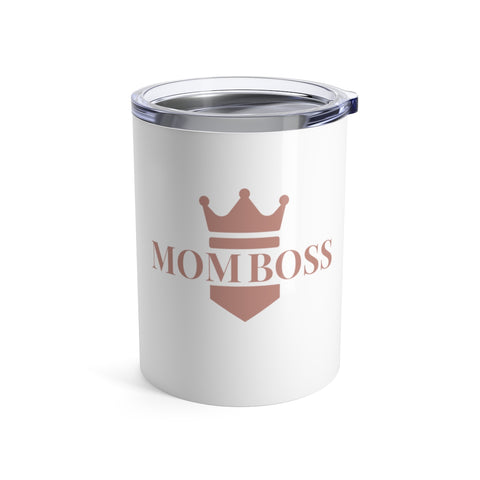 "gifts for mom friends, ""mom boss"", white short tumbler with blush pink lettering and crown"