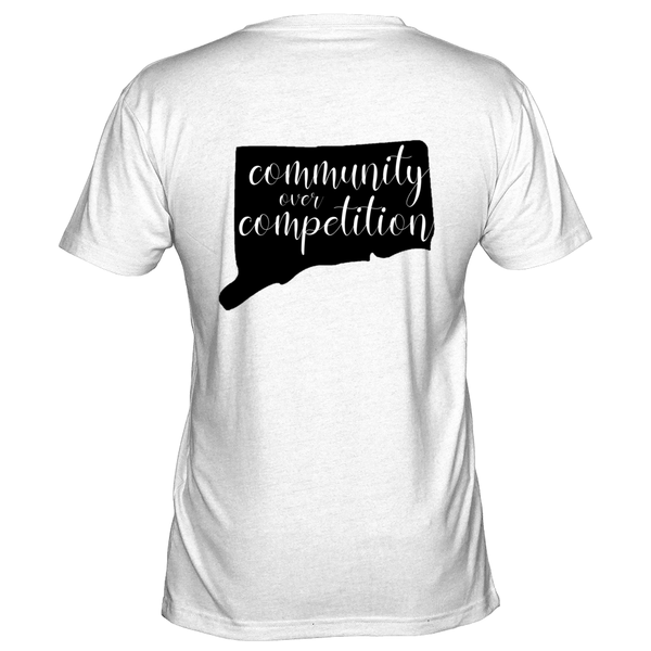 "Graphic Tees for Women: State of CT Shadow ""Community over Competition"""