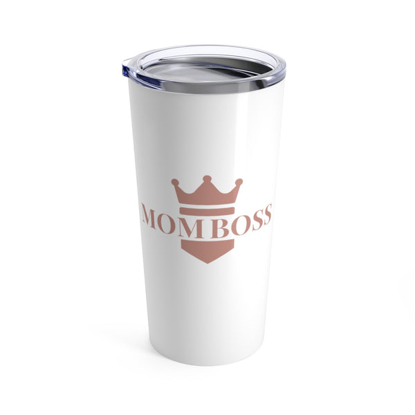 "gifts for mom friends, ""mom boss"", white tumbler with blush pink lettering and crown"