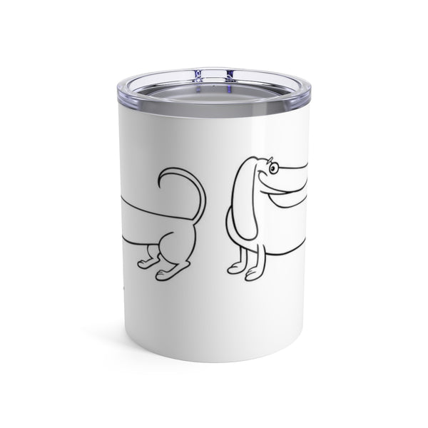 "short tumbler ""it's been a long day"" with dachshund wrapped around, dachshund gifts"
