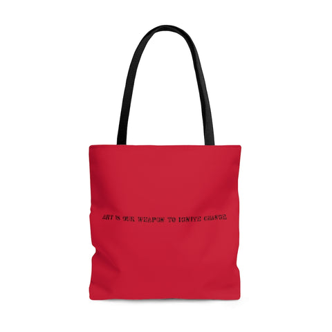 Art Is Our Weapon Tote Bag Red