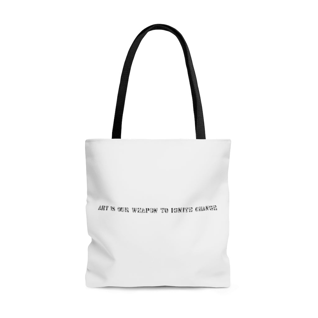 Art Is Our Weapon Tote Bag White