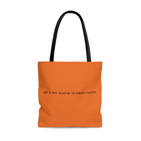 Art Is Our Weapon Tote Bag Orange