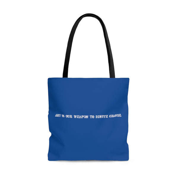 Art Is Our Weapon Tote Bag Blue