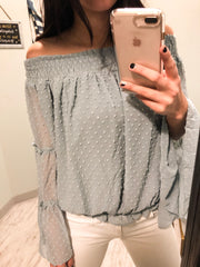 Sage Dotted Blouse