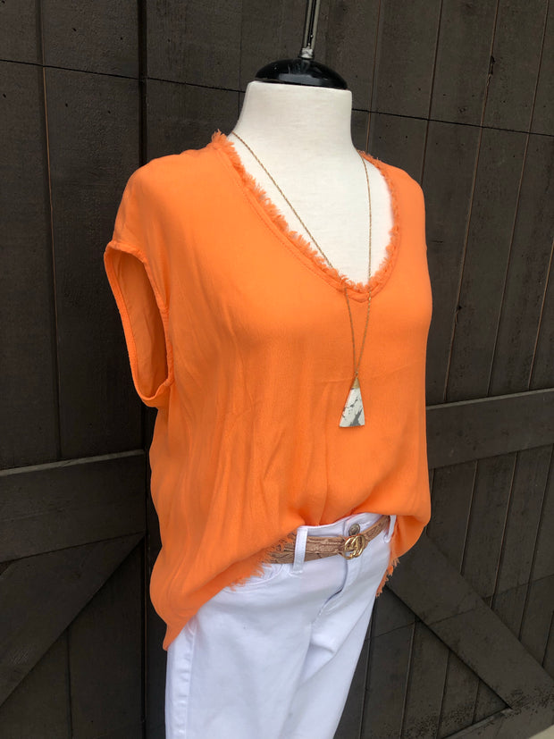 Sherbet Frayed Tunic