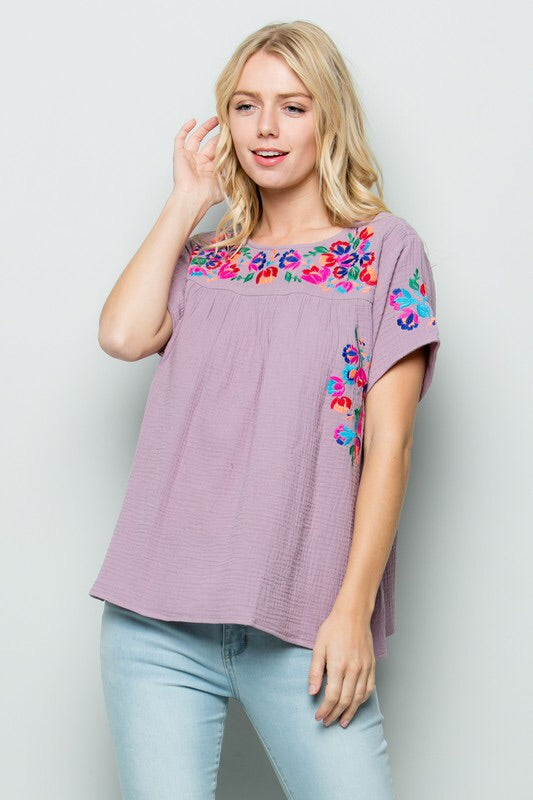 Wisteria Embroidery Top