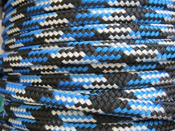 Black-Blue-White Tobiano Lead Rope - 12mm