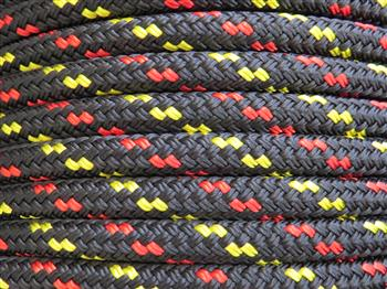 Black with Yellow & Red Double Fleck Lead Rope - 12mm