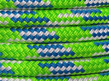 Lime-Blue-White Tobiano Rope - 10mm