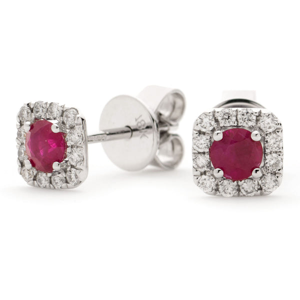 RUBY HALO STUD EARRINGS