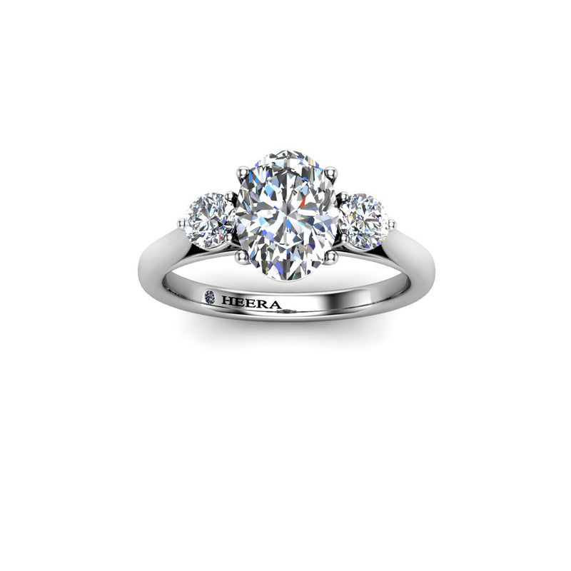 Platinum Pear Shape Halo with diamond shoulders and single Halo Ring 3 claw - GIA Certificated - HEERA DIAMONDS