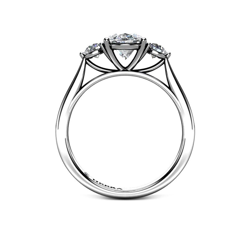 Platinum Pear Shape Halo with diamond shoulders and single Halo Ring 3 claw Setting Only - HEERA DIAMONDS
