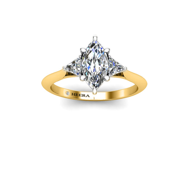 The Marquise Trillion Trilogy Engagement Ring in Platinum - HEERA DIAMONDS