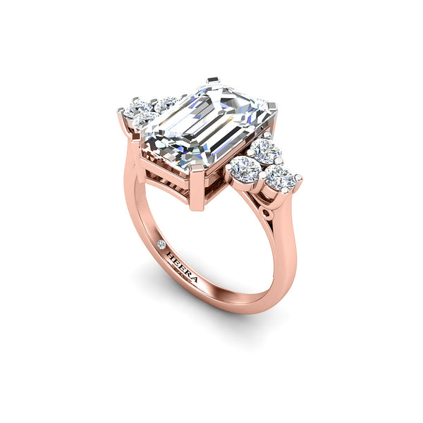 The Treasure Trilogy Engagement Ring in Platinum - Emerald Cut - HEERA DIAMONDS