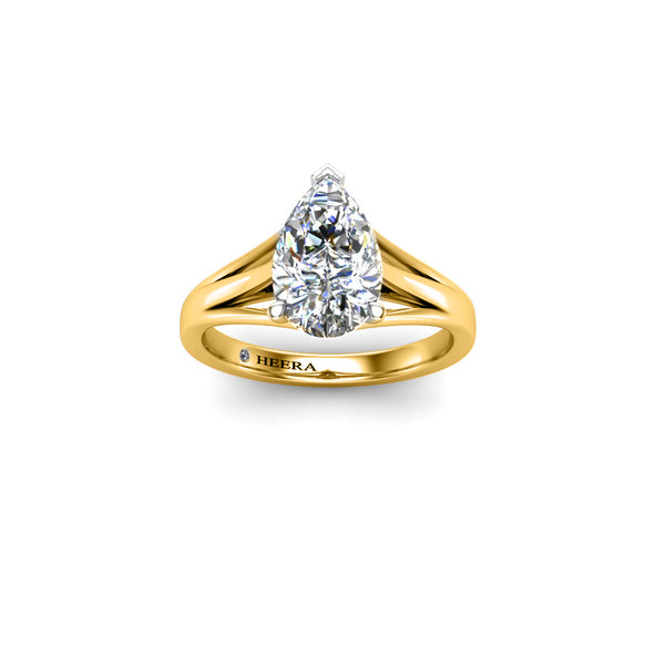 Triple Split Pear Solitaire Engagement Ring in Platinum - HEERA DIAMONDS