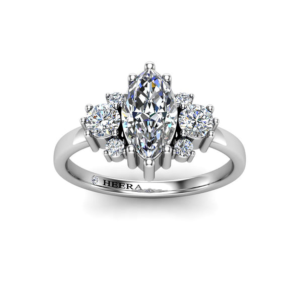 The Treasure Trilogy Engagement Ring in Platinum -Marquise  Cut - HEERA DIAMONDS