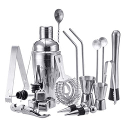22pcs Cocktail Bar Shaker Mixer Maker Muddler Barware Stainless Steel Bar Sets Bartender Tools With Whiskey StonesMojito