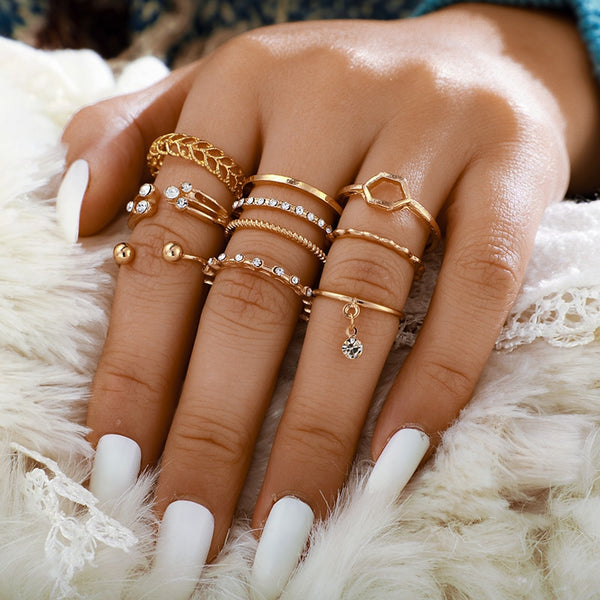 8pcs/sets Bohemian Geometric Rings Sets Clear Crystal Stone Gold Chain Opening Rings - Nova Sloth