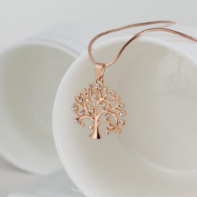 Tree Of Life Pendant Choker Necklace Women Jewelry Fashion 2018 Crystal Rose Gold Statement Necklaces & Pendants Christmas Gifts - Nova Sloth