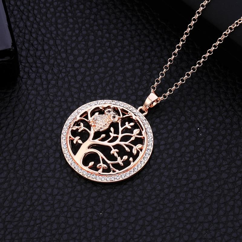 Small Owl Necklace Tree Of Life Pendant Rose Gold Women Sweater Chain Crystal Long Necklaces & Pendants Statement Jewelry Bijoux - Nova Sloth