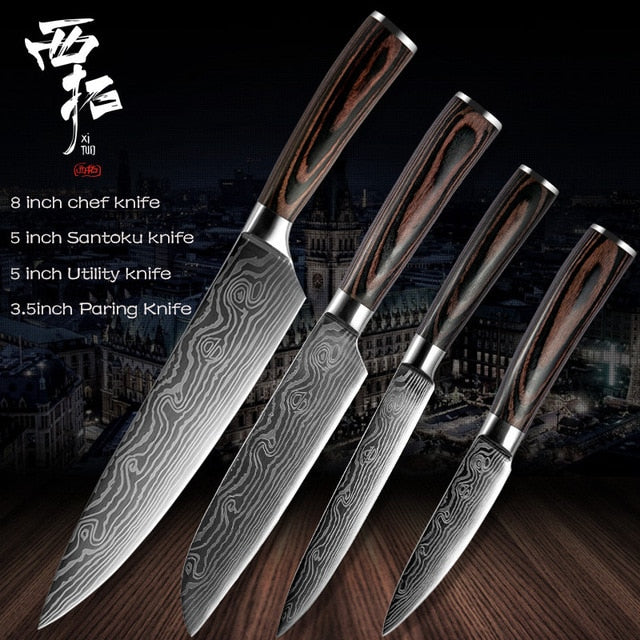 Xituo | Japanese Damascus Kitchen Chef Knives Set - Nova Sloth