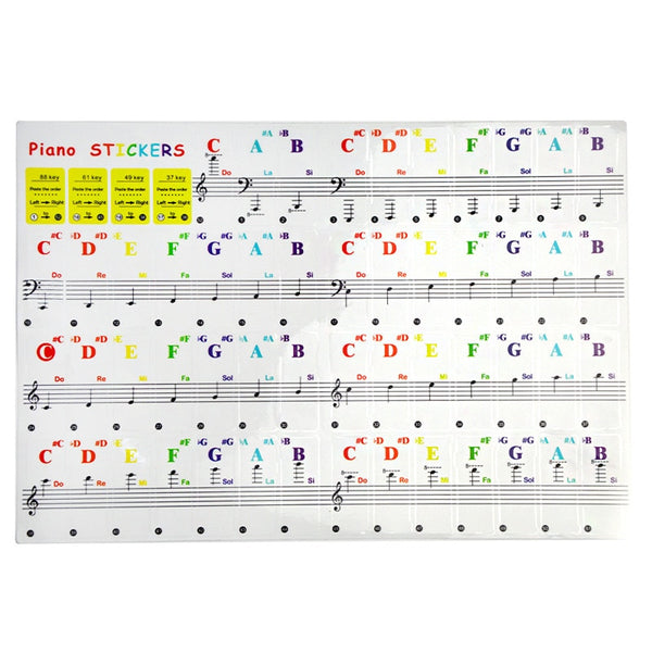 Piano Keyboard Stickers Electronic Keyboard Key Piano Stave Note Sticker Symbol for White Keys - 49/54/61/88 color Transparent