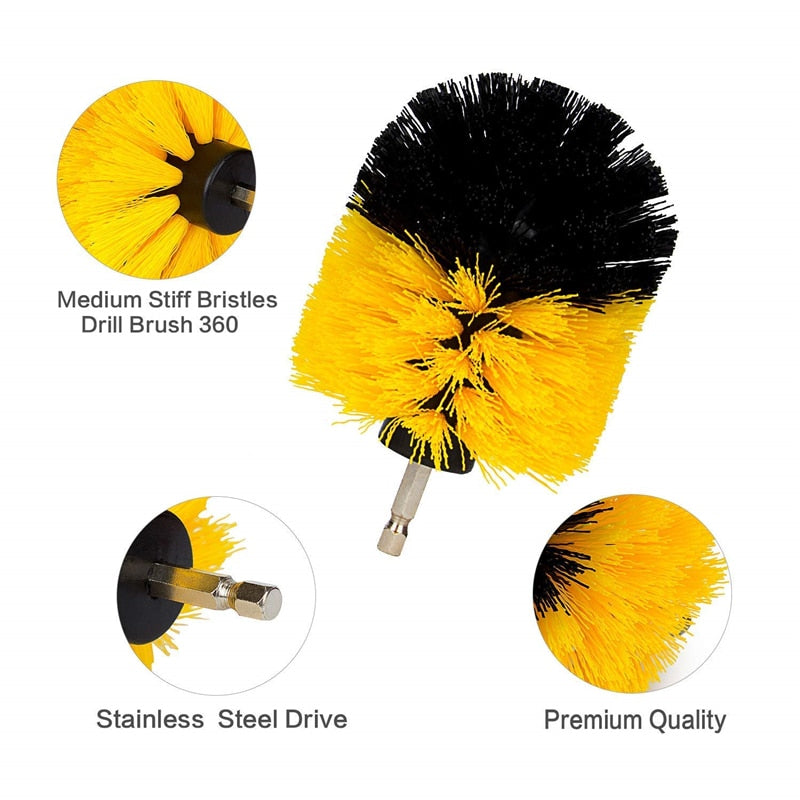 Drill Brush Kit for Carpet-Bathroom-Glass-Car-Tires, Scrubber Cleaning Brush (3Pcs/Set) - Nova Sloth