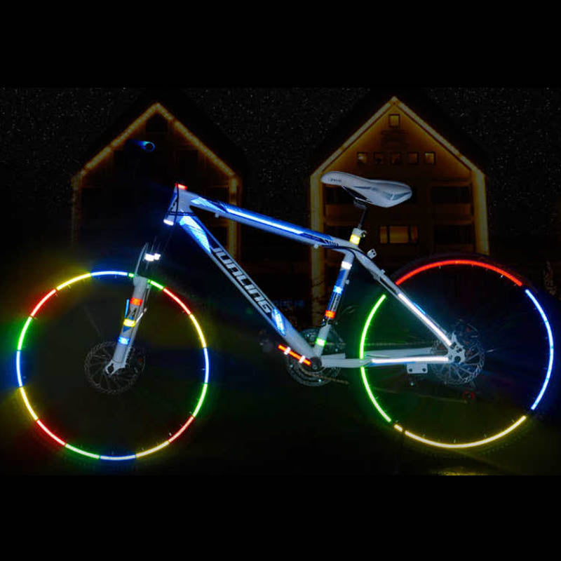 1cmx8m Bike Reflective Stickers Cycling Fluorescent Reflective Tape MTB Bicycle Adhesive Tape Safety Decor Sticker Accessories - Nova Sloth
