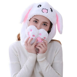 Bunny Ears Hat - Girls Animals Ear Moving Jumping Hats Children Women Warm Plush Rabbit Winter Caps Kids Cute Bunny Fuzzy Pinch Airbag Funny Hats