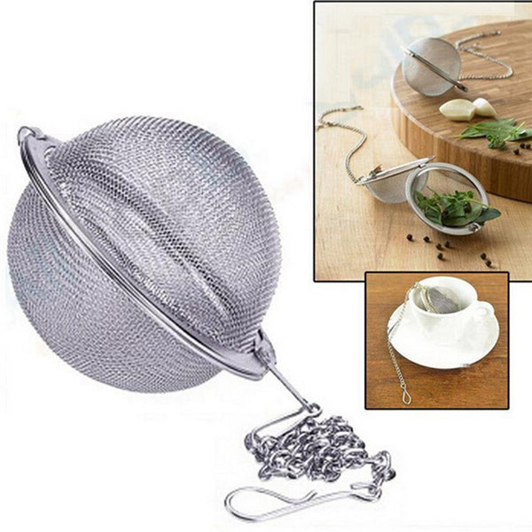 Stainless Steel Tea Strainer Infuser Mesh Filter Herbal Ball Cooking Kitchen Tools Tea Locking Seasoning Ball Tea Spice - Nova Sloth