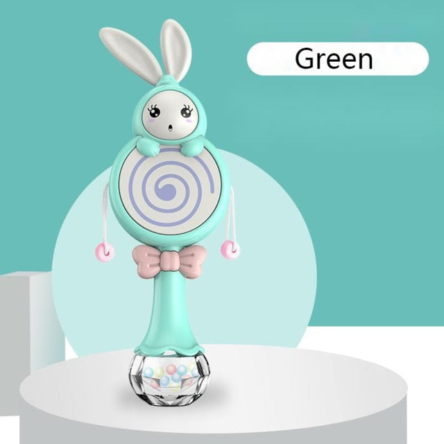 Baby Music Flashing Teether Rattle Toys Rabbit Hand Bells Mobile Infant Pacifier Weep Tear Newborn Early Educational Toys 0-12M