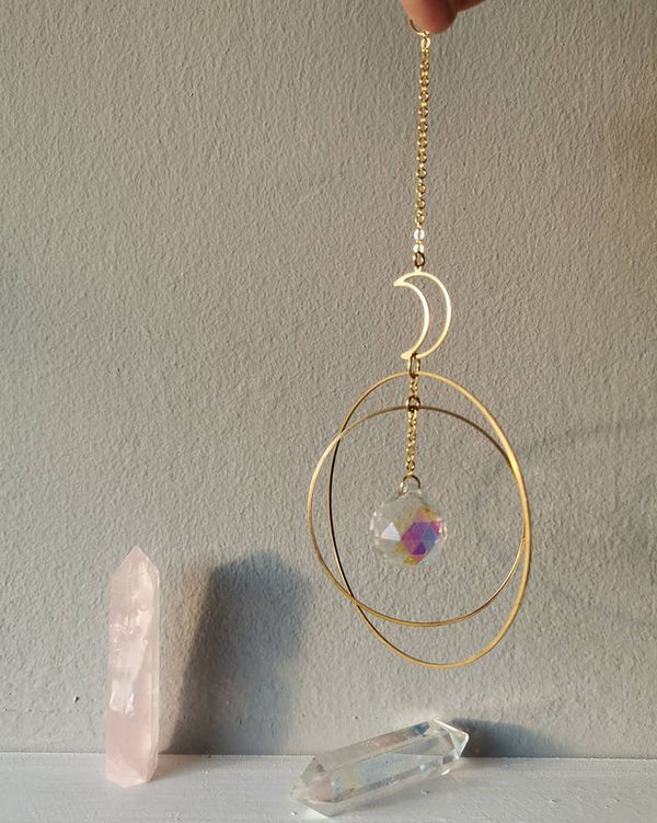 Moon Sun Catcher, moon and Hoops+ Rainbow Crystal,Crystal Hanging,Car Prism,Crystal Suncatcher, Rearview Mirror Decor, Rainbows - Nova Sloth