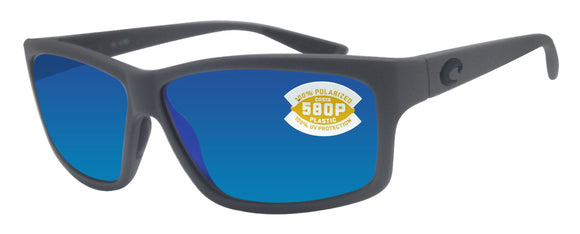 Costa Del Mar Cut Matte Gray Frame Blue Mirror 580P Plastic Polarized Lens
