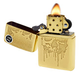 Zippo 29401 Grunge Skull Paint Drip Gold Dust Finish Windproof Pocket Lighter