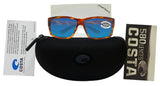 Costa Del Mar Cut Honey Tortoise Frame Blue Mirror 580G Glass Polarized Lens