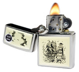 Zippo 29397 Scrimshaw Ship Lighthouse Street Chrome Finish Emblem Lighter New